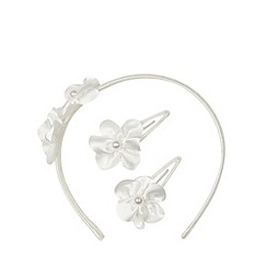 Debenhams - Girl's ivory rosebud headband and hair clips set