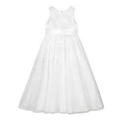RJR.John Rocha - Designer girl's white embroidered mesh dress