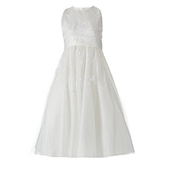 RJR.John Rocha - Designer girl's ivory embroidered mesh dress