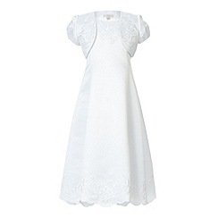 RJR.John Rocha - Designer girl's white embroidered communion dress and bolero
