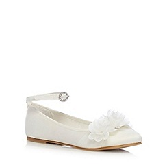 Debenhams - Girl's ivory corsage bow pumps
