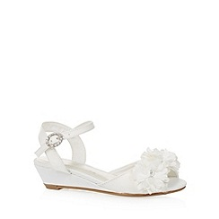Debenhams - Girl's ivory floral wedge sandals