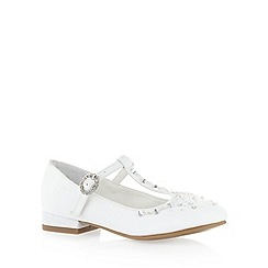 Debenhams - Girl's white diamante T-bar strap shoes