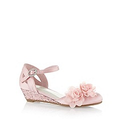 Debenhams - Girl's pink corsage trim low wedge shoes