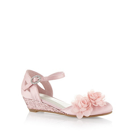 debenhams s pink corsage trim low wedge shoes debenhams