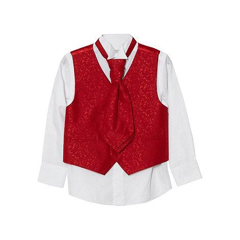 bluezoo - Boy+s red jacquard waistcoat, shirt and cravat set