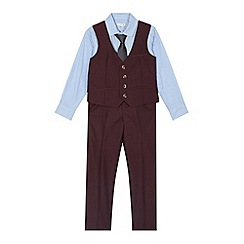RJR.John Rocha - Designer boy's wine shirt, tie, waistcoat and trousers set