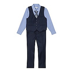 RJR.John Rocha - Designer boy's navy birds eye shirt, tie, waistcoat and trousers