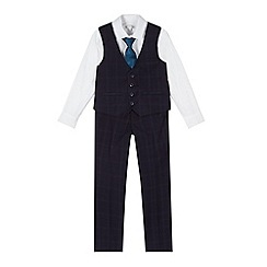 RJR.John Rocha - Designer boy's navy checked four piece suit
