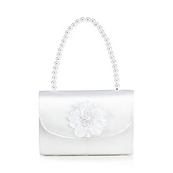 Debenhams - Girls' white satin handbag