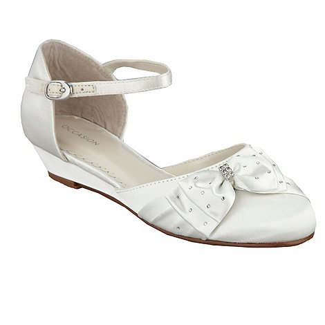 Debenhams - Girl+s ivory diamante wedge shoes