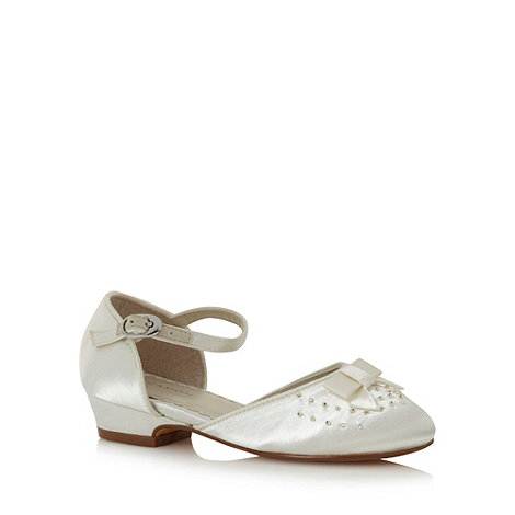 Debenhams - Girl+s ivory beaded front shoes