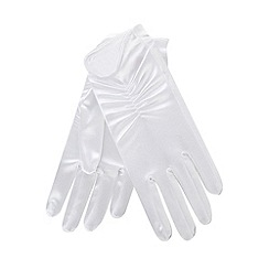 Debenhams - Girls' white ruched gloves
