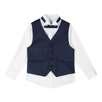 Rjr John Rocha Boys White Shirt Navy Waistcoat And Bow