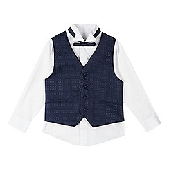 RJR.John Rocha - Boys' white shirt, navy waistcoat and bow tie set