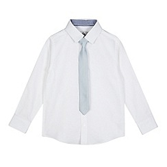 RJR.John Rocha - Boys' white Oxford shirt and blue square textured tie set