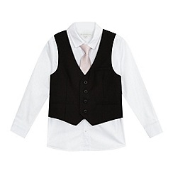 RJR.John Rocha - Boys' black slim fit waistcoat, shirt and tie set