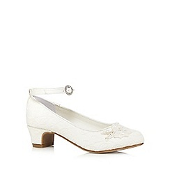 Debenhams - Girls' ivory lace flower applique heeled shoes