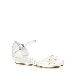 Debenhams - Girls' ivory flower embellishment wedge shoes