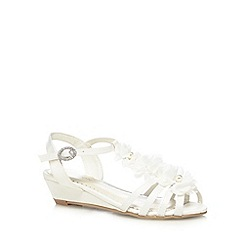 Debenhams - Girls' ivory flower beaded wedge shoes