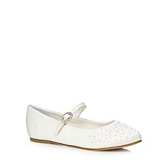 Debenhams - Girls' ivory embellished flat shoes