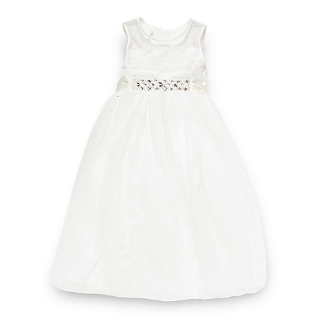 Pearce II Fionda - Designer girl+s ivory diamante mesh bridesmaid dress