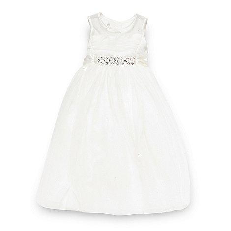 Pearce II Fionda - Designer girl+s ivory diamante mesh bridesmaid dress