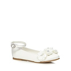 Debenhams - Girls' ivory flower applique flat shoes