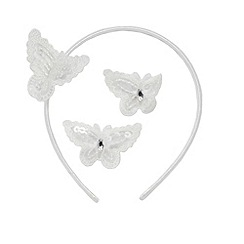 Debenhams - Girl's ivory butterfly hair accessory set