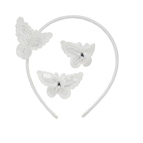 Debenhams - Girl+s ivory butterfly hair accessory set