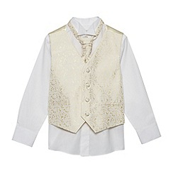 bluezoo - Boy's gold waistcoat, shirt and cravat set