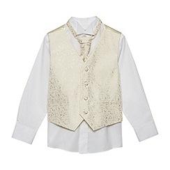 bluezoo - Boy's gold waistcoat, shirt and cravat set