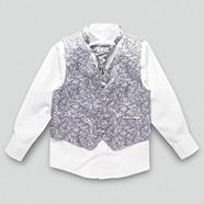 Boy's dark purple floral waistcoat cravat tie and shirt set