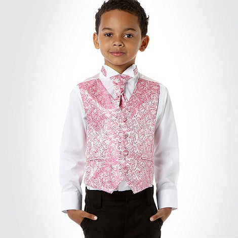 bluezoo - Boy+s bright pink paisley waistcoat, shirt and cravat set