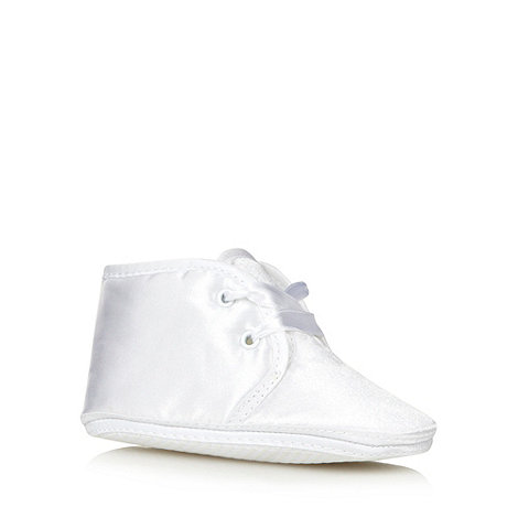 Debenhams - Baby+s white Christening booties