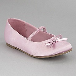 Debenhams - Girl's pink bow front shoes