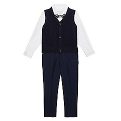 RJR.John Rocha - Boys' navy and white tank top, shirt and trousers set