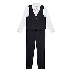 RJR.John Rocha - Boys' white shirt, pink tie and navy checked print waistcoat and trousers set