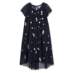 RJR.John Rocha - Girls' navy flower applique bead embellished dress