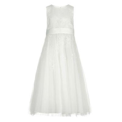 Rjr John Rocha Girls Ivory Floral Embroidered Dress