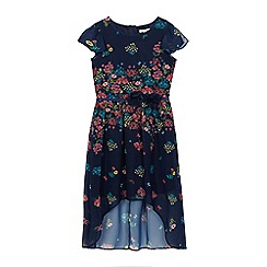 RJR.John Rocha - Girls' navy floral print chiffon dress