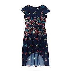RJR.John Rocha - Girls' navy floral print chiffon dress