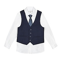 RJR.John Rocha - Boys' navy galaxy print lined waistcoat, shirt and tie set