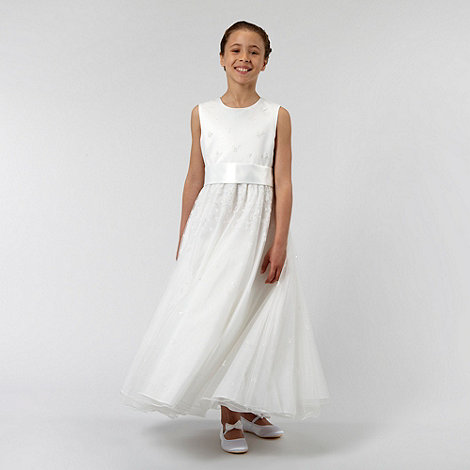 Pearce II Fionda - Designer girl+s ivory embroidered bridesmaid dress
