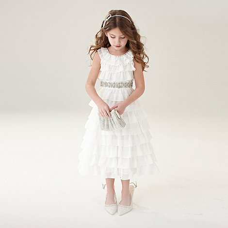 No. 1 Jenny Packham - Designer girl+s ivory frill tiered dress