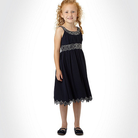 Tigerlily - Girl+s navy seed beaded occasion dress