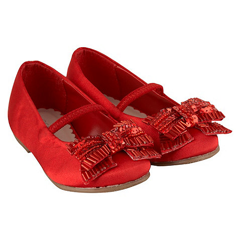 Debenhams - Girl+s red beaded bow shoes