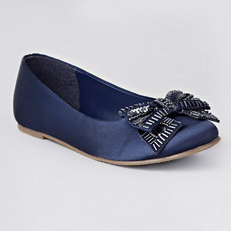 Debenhams - Girl+s navy beaded bow pumps