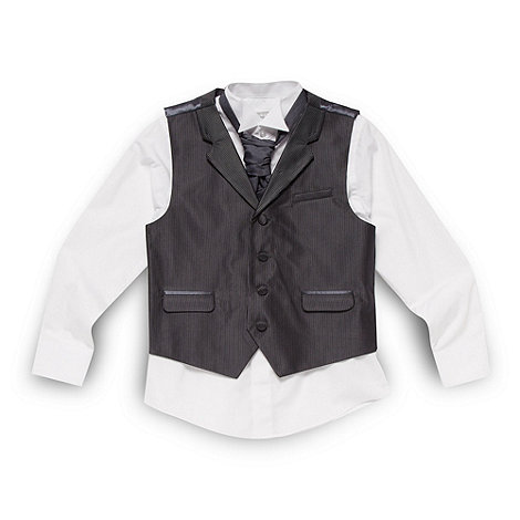 bluezoo - Boy+s black and grey pinstripe waistcoat