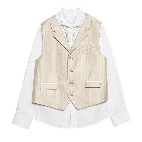 bluezoo - Boy+s taupe striped waistcoat set